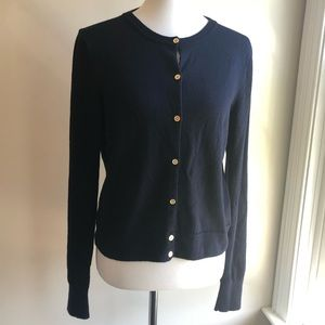 J. Crew Navy Cardigan With Gold Buttons